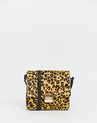 Urbancode Cross Body Bag In Leopard With Chain Strap Brown