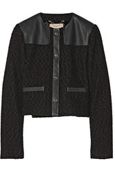 Jason Wu Wool Boucle And Leather Jacket Black