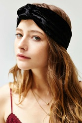 Urban Outfitters Carmen Knotted Wide Headwrap Black