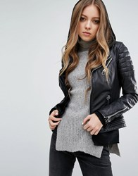 Goosecraft Double Zip Leather Biker Jacket With Ribbed Arm Black