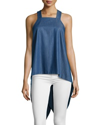 F.T.B By Fade To Blue Square Neck Waterfall Back Tank Medium Wash