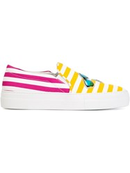 Joshua Sanders Striped Slip On Sneakers Yellow And Orange