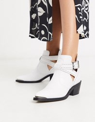 Ted Baker Celania Leather Western Cut Out Biker Boots White