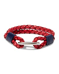 Polo Ralph Lauren Braided Leather Wrist Strap Bracelet Red