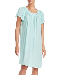 Miss Elaine Floral Accented Nightgown Seafoam