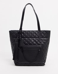 Steve Madden Kari Quilted Tote In Black