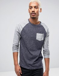 Esprit Long Sleeve Top In Blue Marl 400 Navy