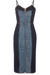 Current Elliott The Jacqueline Two Tone Stretch Denim Dress Mid Denim