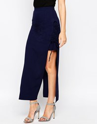 Love Lace Up Maxi Skirt Navy