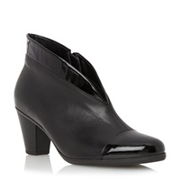 Gabor Enfield Asymmetric Leather Ankle Boots Black Leather