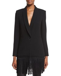 Haute Hippie The Zora Crepe Fringe Blazer Black