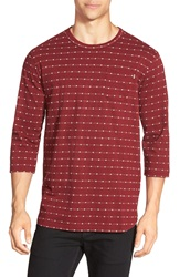Obey 'Sutter' Jacquard Knit Three Quarter Sleeve Pocket T Shirt Burgundy Multi