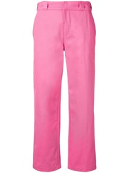 Adaptation Cropped Straight Trousers Pink