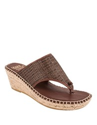 Andre Assous Addie Leather Thong Sandals Brown