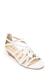 Me Too Women's Sofie Wedge Sandal White Leather
