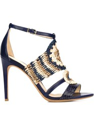 Alexandre Birman Crochet Stiletto Sandals Blue