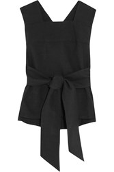 Christophe Lemaire Lemaire Tie Front Linen And Cotton Blend Top Black