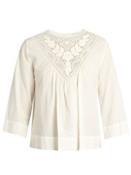 Masscob Lace Trimmed Cotton Top White