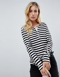 Maison Scotch Striped Grandad T Black