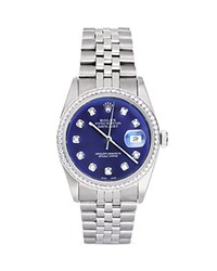 Pre Owned Rolex Stainless Steel And 18K White Gold Datejust Watch With Blue Dial And Diamond Bezel 36Mm Blue Silver