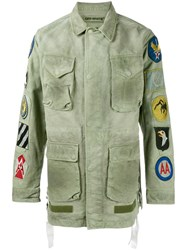 Off White Patch Embellished Field Jacket Green