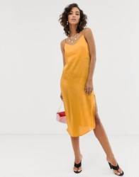 Na Kd Satin Slip Dress In Yellow