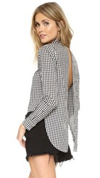 Kendall Kylie Long Sleeve Open Back Button Up Gingham