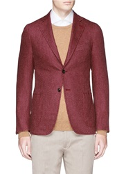 Isaia 'Cortina' Geometric Pattern Wool Cashmere Cotton Blazer Red