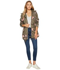 Members Only Olive Floral Anorak Olive Floral Women's Coat