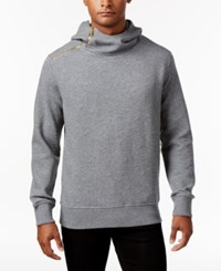 Sean John Men's Cross Zip Hooded Sweatshirt Medium Grey