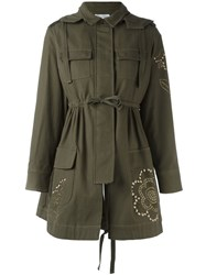 Red Valentino Studded Military Coat Green