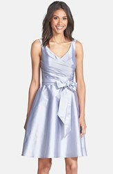 Alfred Sung Women's Peau De Soie Fit And Flare Dress French Grey