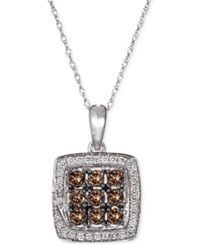 Macy's Le Vian Chocolatier Chocolate Deco Diamond 1 2 Ct. T.W. And White Diamond 1 8 Ct. T.W. Pendant Necklace In 14K White Gold