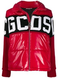 Gcds Knitted Panel Puffer Jacket Red