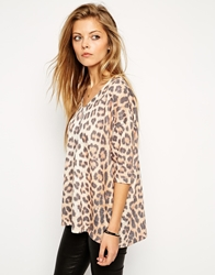 Asos V Neck Top In Texture With Leopard Print Multi