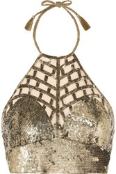 Miguelina Rupi Cropped Sequined Tulle Top Gold