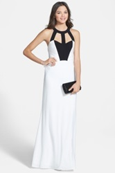 Hailey Logan 'Halle' Colorblock Halter Gown Juniors White