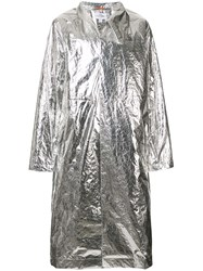 Oamc Long Length Raincoat Silver