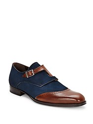 Mezlan Leather Monk Strap Dress Shoes Cognac Navy