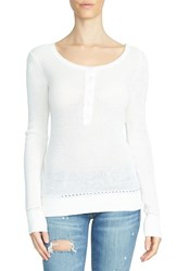 1.State Women's Waffle Knit Cotton Henley Tee
