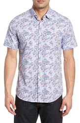 Stone Rose Contemporary Fit Wave Print Sport Shirt Pink