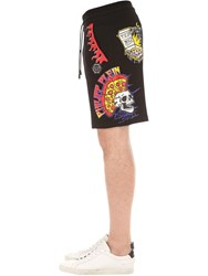 Philipp Plein Pizza Print Cotton Jersey Sweat Shorts Black