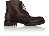 Barneys New York Men's Leather Lace Up Ankle Boots Dark Brown Brown