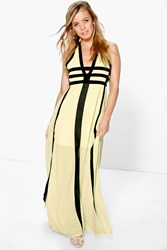 Boohoo Zoe Contrast Panel Cut Out Detail Maxi Dress Lemon
