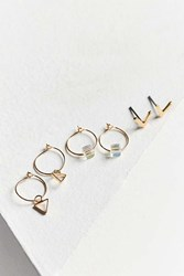 Urban Outfitters Triangle Post Hoop Earring Set Gold