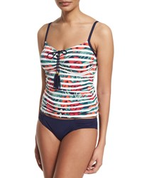 Tommy Bahama Striped Floral Print Tankini Swim Top Multi