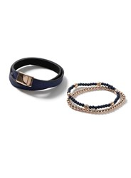 Topman Navy And Rose Gold Look Beaded Leather Bracelet Pack Blue