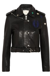 Maje Embroidered Leather Biker Jacket Black