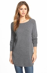 Petite Women's Halogen Shirttail Wool And Cashmere Boatneck Tunic Medium Heather Grey