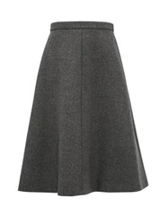 Miu Miu A Line Wool Tweed Midi Skirt Dark Grey